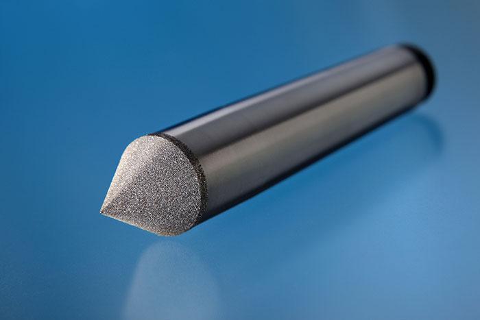 Diamantierte Mitnehmerspitze für die Bearbeitung von Drehteilen